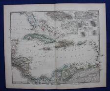CARAIBI, Cuba, Bahamas, Giamaica, Haiti, Originale Antico Mappa, Stieler, 1880
