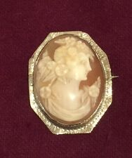 1920s Genuine Shell Cameo 14k White Gold Small