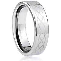 Men's 7mm Wide Tungsten Carbide Band Comfort Fit Ring Celtic Design - TCR025