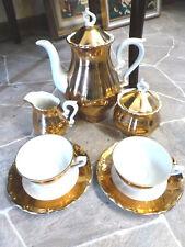 Mokkaservice Porzellan Golddekor Barockstil Bavaria Golden Fifties vintage