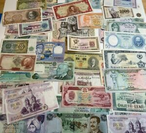Huge lot of 63 World Currency notes, various countries 99c NO RESERVE
