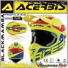 CASQUE ACERBIS PROFILE 3.0 BLACKMAMBA MOTOCROSS ENDURO JAUNE FLUO/BLEU TAILLE M