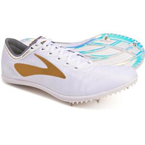 Brooks Men's Wire V5 Track Spikes Running Shoes in White / Gold Size 12.5