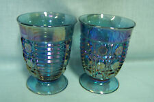 BLUE CARNIVAL GLASS WINDSOR FOOTED WATER GLASS SET OF FOUR EUC