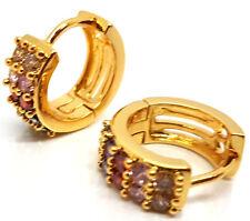 Men Women Two Row Crystal Blings Huggie Hoops Ear Stud Earring 18K Gold Filled