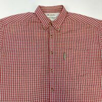 Columbia Button Up Shirt Men's 2XL XXL Short Sleeve Red Plaid Casual Polycotton