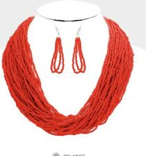 Red Seed Bead Pearl Bib Necklace Pageant Multi Strand Layers Row Set