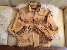 Western Cowboy  Fringe leather coat  jacket  by Denim & Supply Sz M