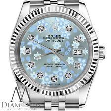 Rolex 36mm Datejust Glossy Ice Blue Flower Dial with Diamond Accent Watch