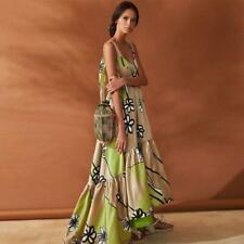 Boho Vestido Largo de Verano para mujeres sin espalda sin mangas Sexy Suelto Estampado Floral de Fiesta