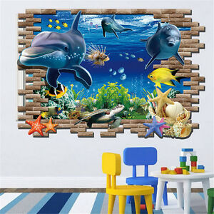 3D Turtle Fish Under the Sea Wall Sticker Removable Bathroom Home Decoratior