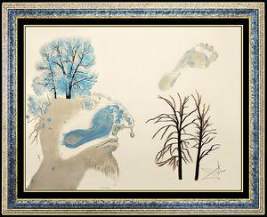 Salvador Dali Original Lithograph Hand Signed Authentic Four Seasons Winter Art