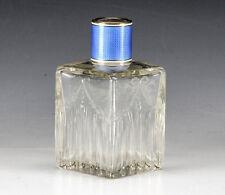 Crystal Sterling Silver Guilloche Enamel Perfume Bottle Flacon c1900 Handpainted
