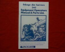 Ford Blueline 340 linkage Disc Plough Owners, operators / Parts manual / book