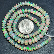 """5.3mm-8mm Fine Ethiopian Welo Opal Smooth Rondelle Beads 19"""" Strand"""