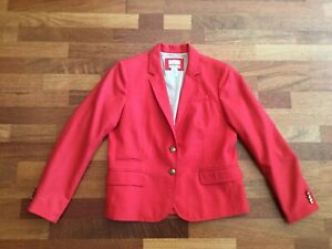 J. Crew Wool Schoolboy Blazer Womens Size 12P Bright Orangish Red
