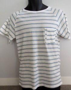 ✅ New D.A.C. POCKET Tee T Shirt Mens SMALL or MEDIUM White & Green Stripe RRP$40
