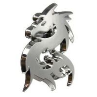 2pcs Car Silver Metal 3D Dragon Emblem Badge Motor Sticker Decal K5A8 A0D6