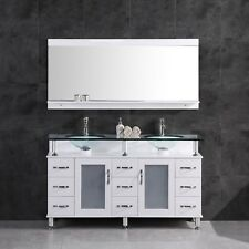 """60"""" Bathroom Vanity Cabinet with Sink Glass Top and Mirror White by LessCare"""