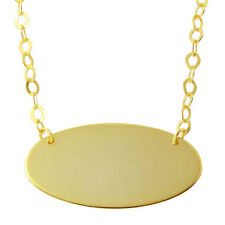 925 Sterling Silver Gold Plated Oval Disc Necklace pendant