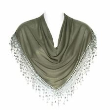 Stylish Bobbin Lace Fringed Ladies Triangle Scarf