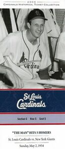 """2006 St Louis Cardinals Historic Ticket Collection 5/2/54 """"The Man"""" Hits 5 Homer"""