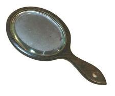 Vintage Large Wood Hand beveled glass mirror brown oval vanity dressing table