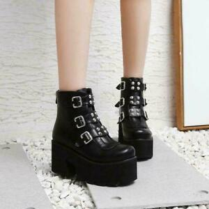 Womens Fashion Punk Buckle Strap Rivet Gothic Chunky High Heels Ankle Boots Size