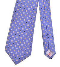 Turnbull & Asser Blue Ribbed Pencil Stripe Woven Polka Dot Spots DANDY Silk Tie