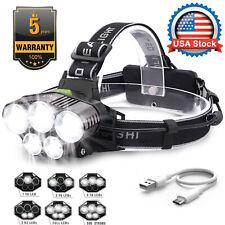 USA 350000Lumens 5X LED Headlamp Rechargeable Head Light Flashlight Torch Lamp