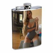 New York Pin Up Girls D4 Flask 8oz Stainless Steel Hip Drinking Whiskey