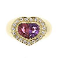14k Yellow Gold 1.02ctw Amethyst & Tourmaline Diamond Heart Ring Size 6.5