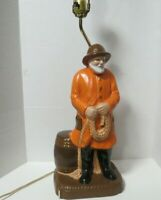 Vintage Nautical Ceramic Hand Painted Lamp Old Salt Man Figure No Shade Works