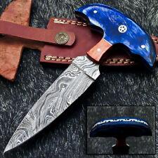 "Custom Hand Forged Damascus Steel Blade 6.5"" Hard Wood - Skinning Knife WD-9298"