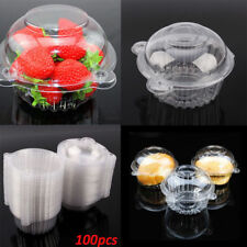 100pcs Clear Plastic Cupcake Cake Dome Holder Box Container for Wedding Par