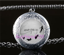 Never grow up Photo Glass Tibet Silver Chain Locket Pendant Necklace#R50