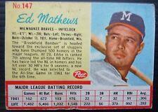 1962 Post Cereal Baseball Lot of 8 Cards - Ed Mathews, ect
