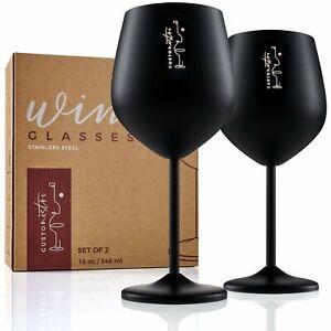 2 Pack Stainless Steel Wine Glasses 18oz BLACK