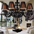 60W Black Crystal Chandelier Pendant Lights Fabric Lampshade Parlor Light E14