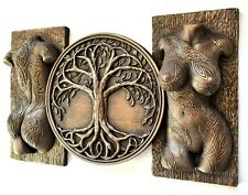 Sexy erotic tattoo covered torso and tree of life sculpture wall decor bronze