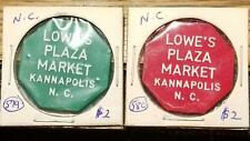 2 Old MONEY CHIP Store Tokens KANNAPOLIS, NORTH CAROLINA LOWE'S PLAZA MARKET