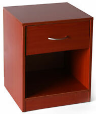 New Basicwise Cherry Wooden Nightstand with Drawer and Shelf Storage
