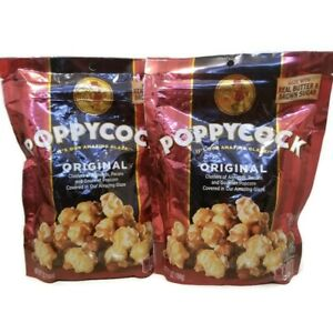 x2 POPPYCOCK Original Popcorn 7oz Bags Real Butter, Brown Sugar,Almonds & Pecans