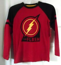 THE FLASH RED GOLD SUPER HERO LONG SLEEVE BOYS GRAY T-SHIRT 10-12 LARGE