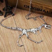 Hot Fashion Goth Alloy Dinosaur Skeleton Dead Tyrannosaurus T-Rex Charm Necklace