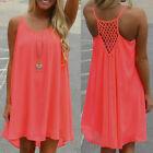 Womens Summer Chiffon Mini Dress Beach Cover Up Sleeveless Tunic Short Sundress