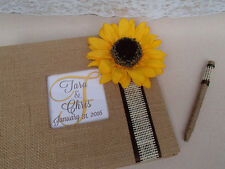 Rustic Sunflower Guest Book Set - Wedding Guestbook Sign Burlap Country Chic Pen