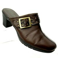 Clarks Bendables Womens Mules Size 8.5 W Brown Leather Slip On Casual Shoes