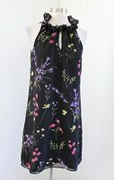 Tahari ASL Levine Black Garden Floral Print Ruffle Neck Sleeveless Shift Dress 4