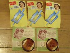 Vintage New Old Stock 5 x PLASTIC HAIR CLIPS 1940s-50s, Blue/Brown On Cards